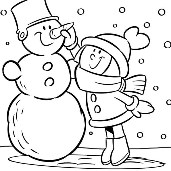 Coloriage Bonhomme de neige rigolo en Ligne Gratuit à imprimer