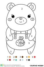 Coloriage magique CP: un ours en salopette