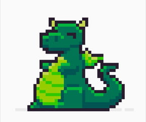 Dragon vert en pixel art