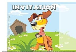 Carte invitation anniversaire chien avec sa niche