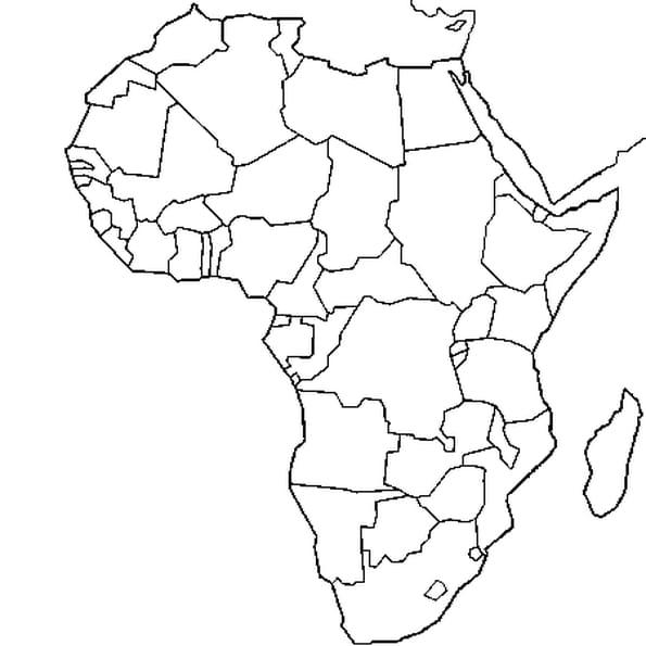 Coloriage carte Afrique en Ligne Gratuit à imprimer