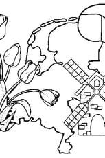 Coloriage Pays Bas en Ligne Gratuit à imprimer
