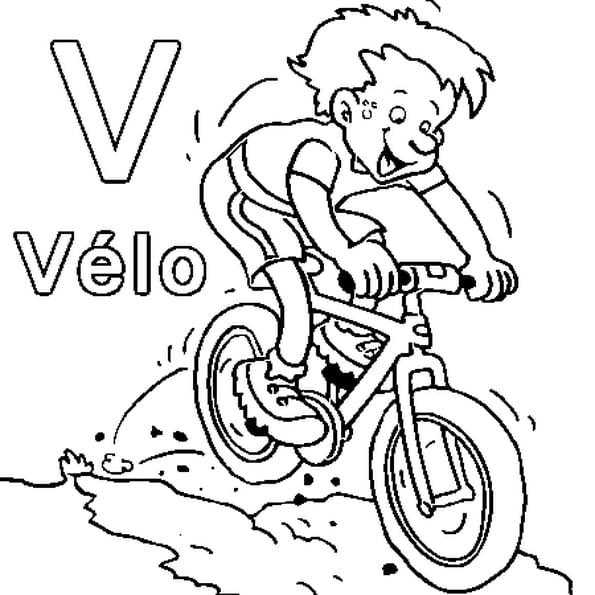 Dessin V comme vélo a colorier