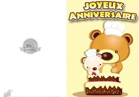 Carte anniversaire ourson