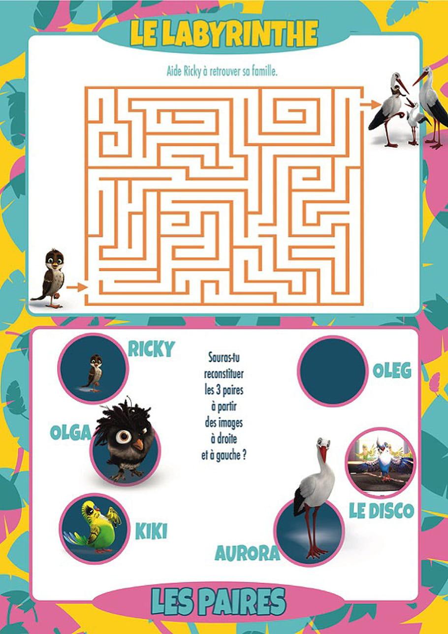 Jeux labyrinthe et paires du film le Voyage de Ricky