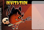 Carte invitation Halloween diablotin fourchu