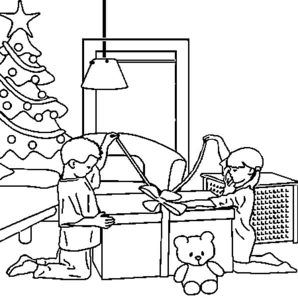 Coloriage de cadeaux de Noël en Ligne Gratuit à imprimer