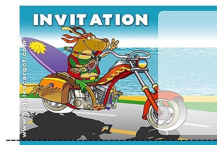 Favori Carte invitation anniversaire chien sur sa moto DP71