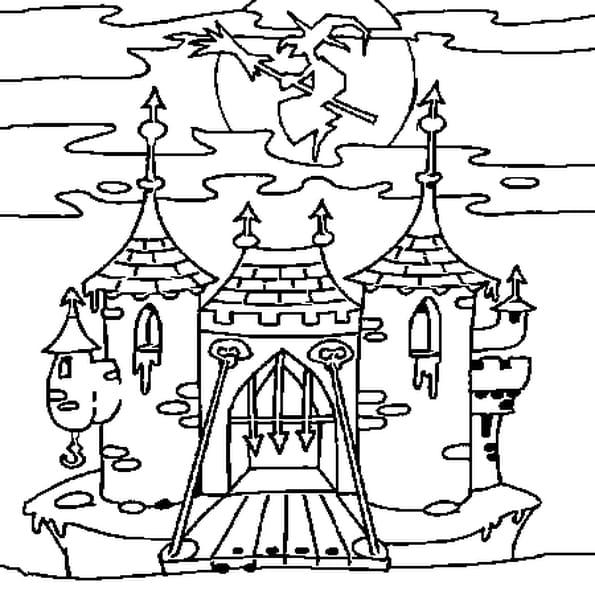 Coloriage Château Hanté en Ligne Gratuit à imprimer