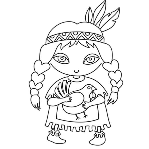 Dessin Indienne de Thanksgiving a colorier