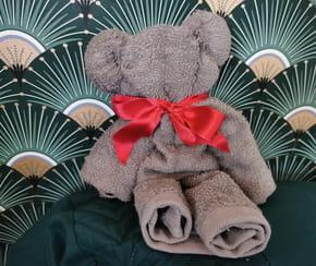 Doudou avec une serviette de toilette