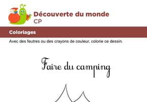 Coloriage, faire du camping