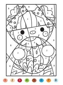 Coloriage magique de Pâques, une fillette