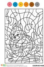 Coloriage Magique CM1, un petit chaton joueur