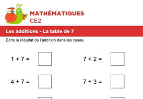 Les additions, la table de 7