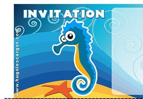 Carte invitation anniversaire hippocampes