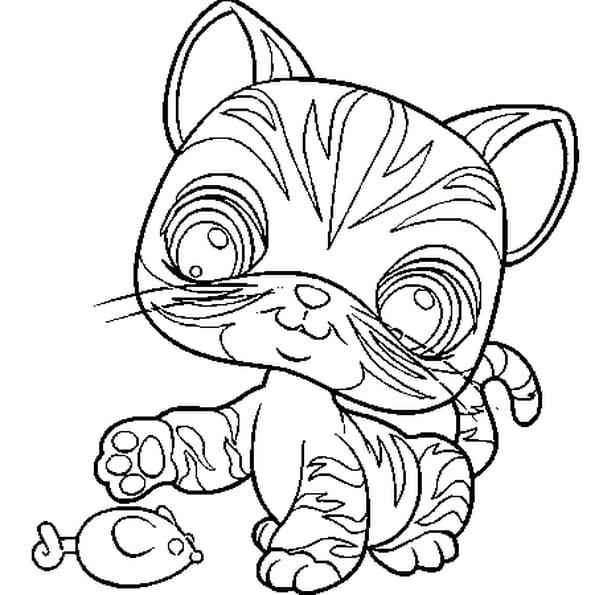 Coloriage chat petshop en Ligne Gratuit à imprimer