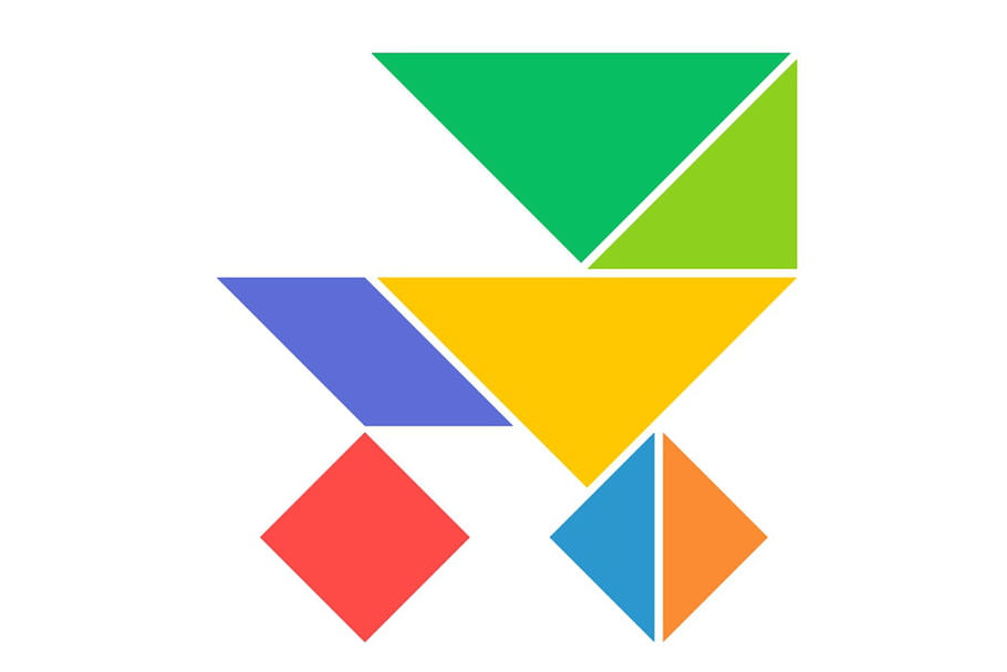 Le tangram niveau facile, une poussette