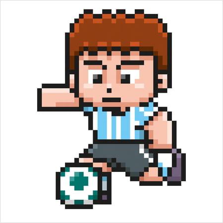 Footballeur Bleu Et Blanc En Pixel Art