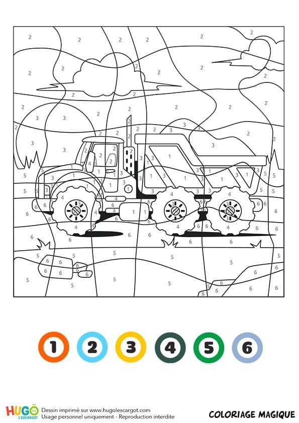 Coloriage Magique Camion De Pompier.Coloriage Magique Ce1 Un Camion Benne