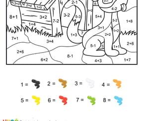 Coloriage magique CE1: une niche et un chien