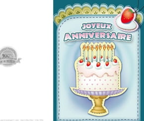 Carte anniversaire gâteau crème