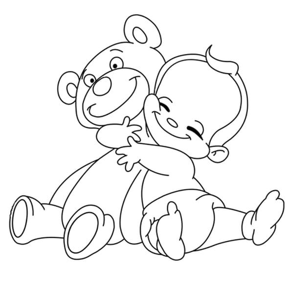 Dessin Ours en peluche et bébé a colorier