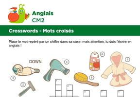 Mots croisés en Anglais sur le thème des objets de bain