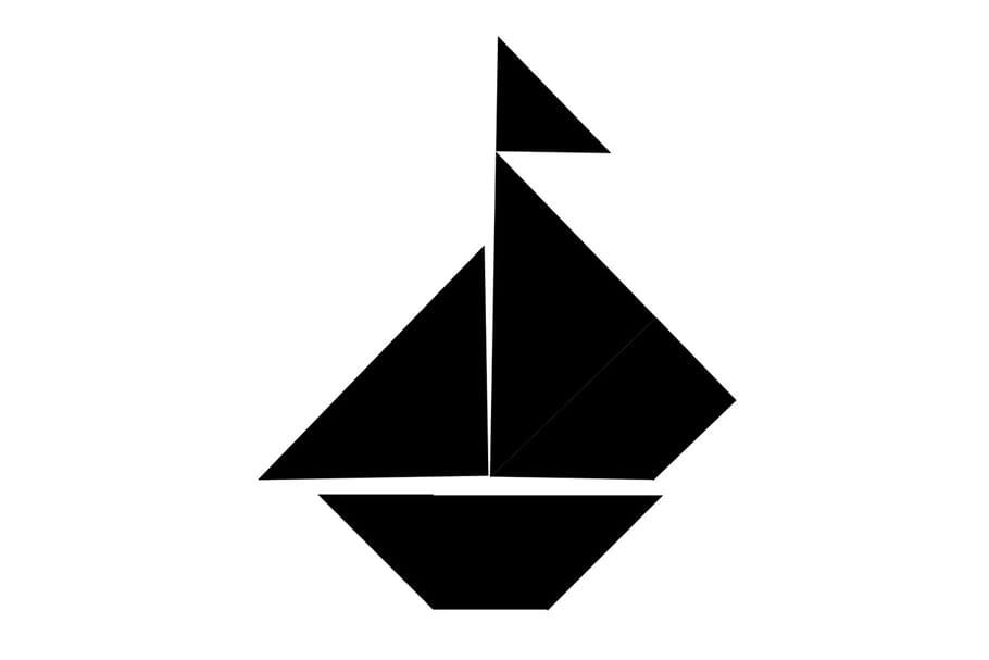Le tangram niveau difficile, un bateau