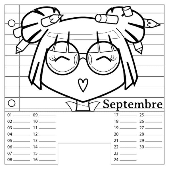 Coloriage Calendrier Septembre en Ligne Gratuit à imprimer