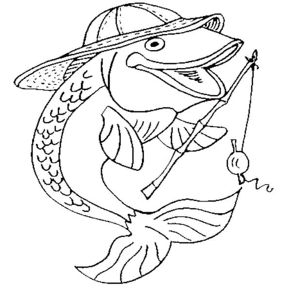 Dessin poisson pêcheur a colorier