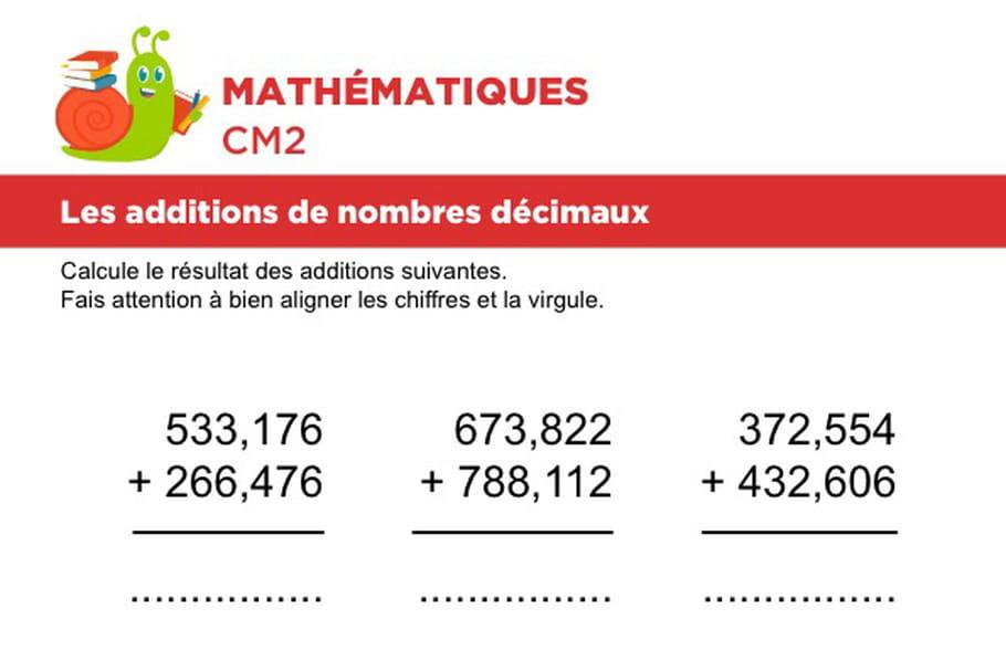 Additions de nombres décimaux niveau 1, exercice 5