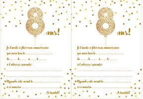 Carte d'invitation d'anniversaire 8ans