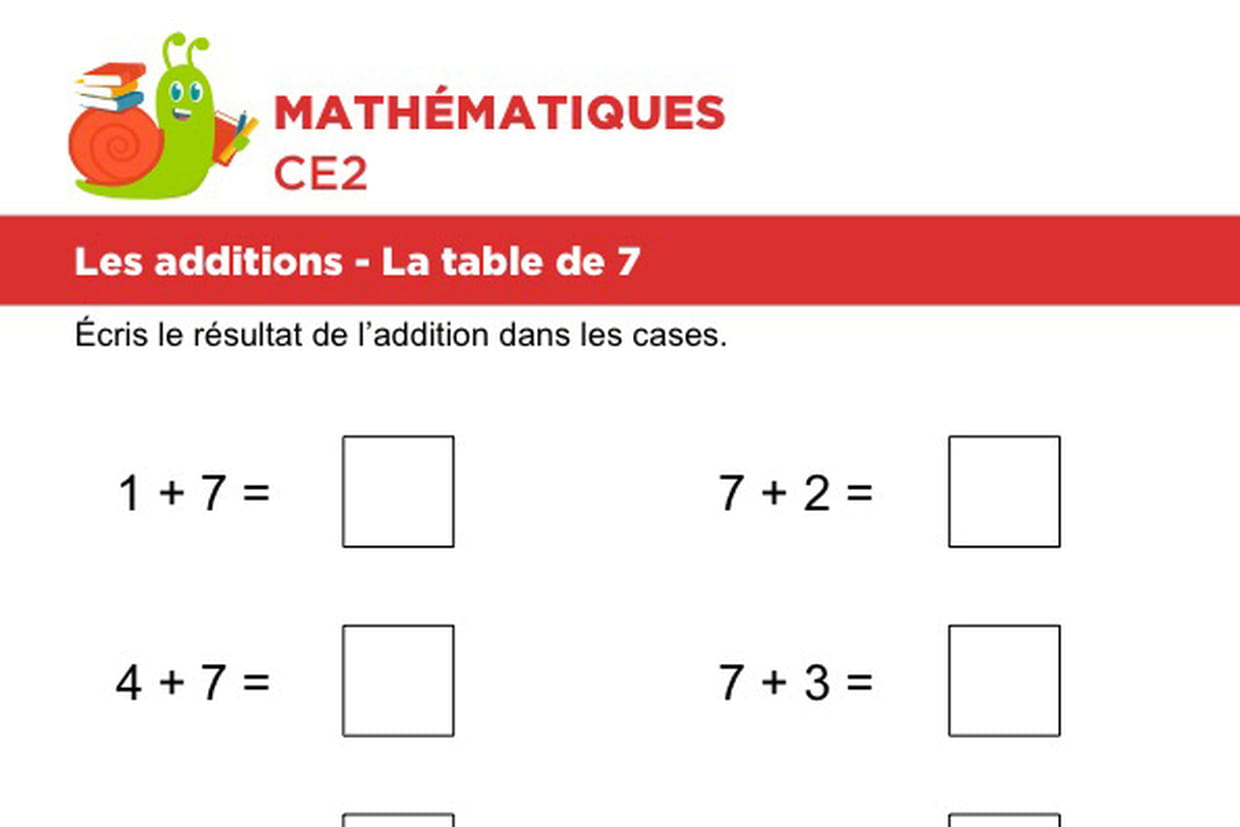 Les Additions La Table De 7