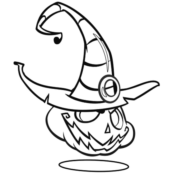 Coloriage Citrouille d'Halloween avec chapeau en Ligne Gratuit à imprimer