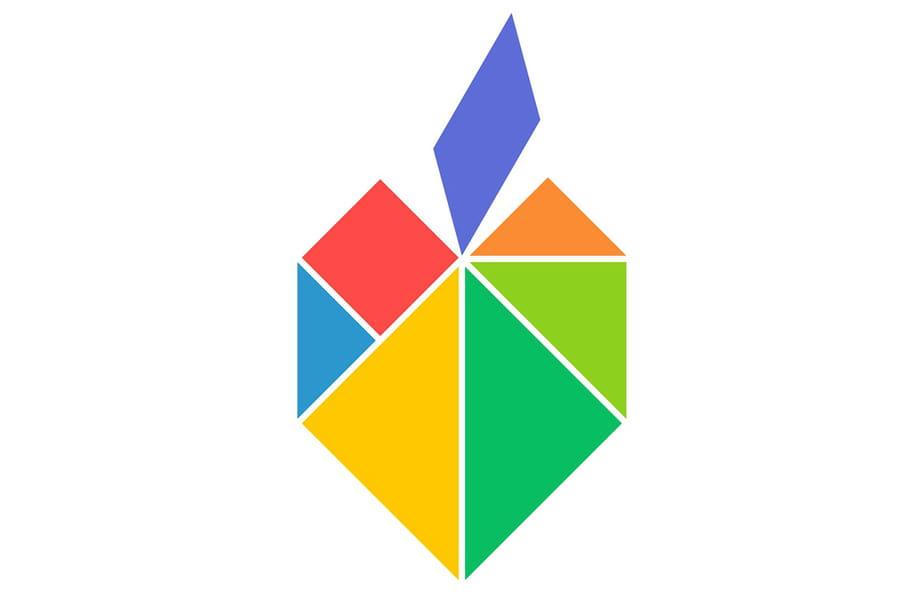 Le tangram niveau facile, une pomme