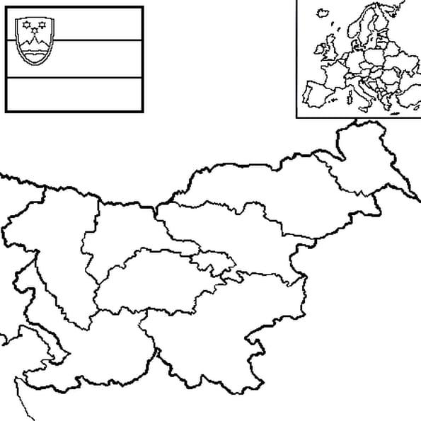 Coloriage carte Slovénie en Ligne Gratuit à imprimer
