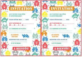Carte d'invitation d'anniversaire thème Pixel Art