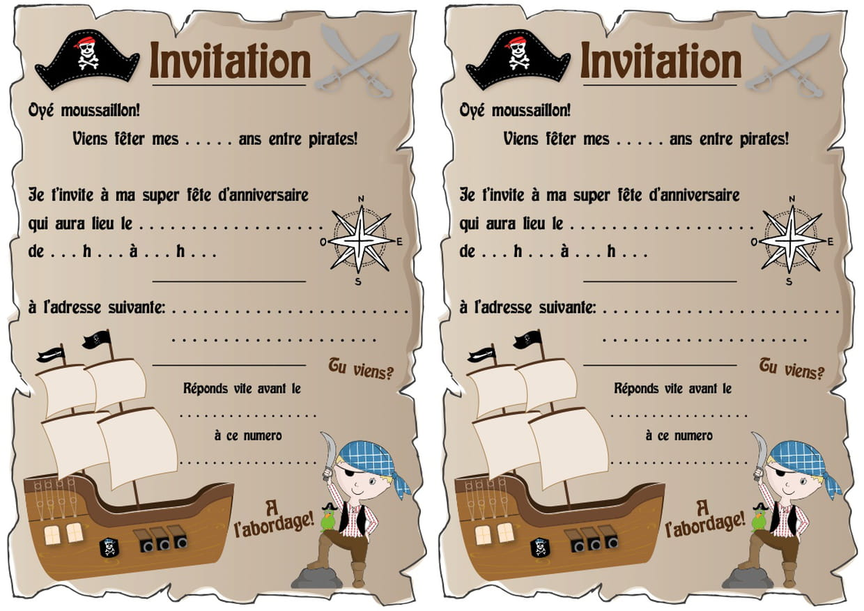 Carte D Invitation D Anniversaire Theme Pirates