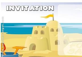 Carte invitation anniversaire château de sable