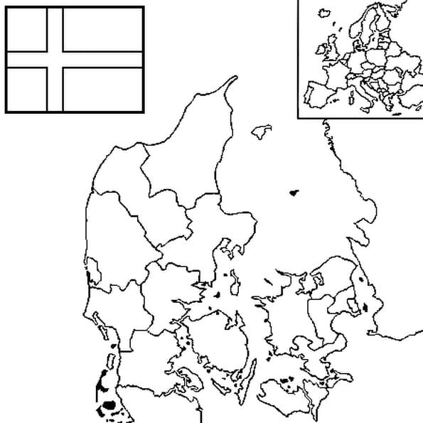 Dessin carte danemark a colorier
