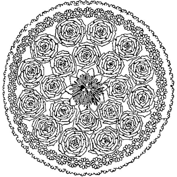 Coloriage Mandala Printemps en Ligne Gratuit à imprimer