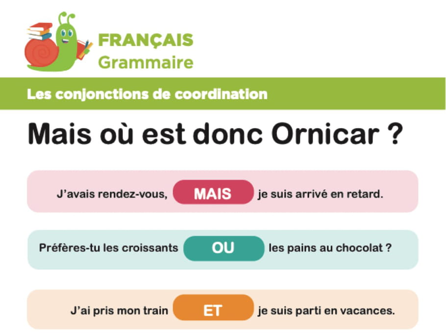 Conjonctions de coordination : mais, ou, et, donc, or, ni, car