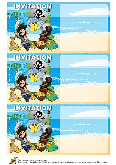 Carte Invitation Anniversaire Pirate Sur Une Plage