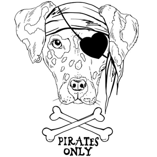 Dessin Chien pirate a colorier