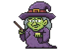 Pixel art sorcière d'Halloween