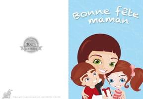 Carte fête des mères petite famille