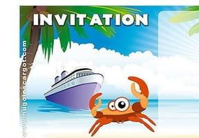 Carte invitation anniversaire plage