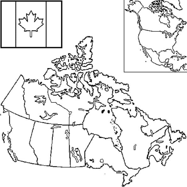 Dessin carte Canada a colorier