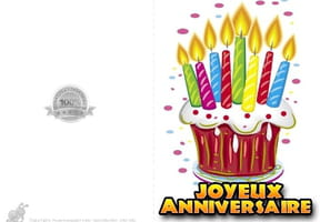 Carte anniversaire gâteau à bougies